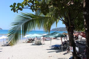 At the Playa Espadilla in Manuel Antonio, touts rent chaise lounges and umbrellas.