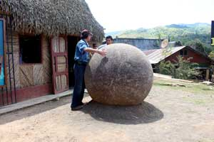 A stone sphere marks the Boruca Indigenous Community Museum.