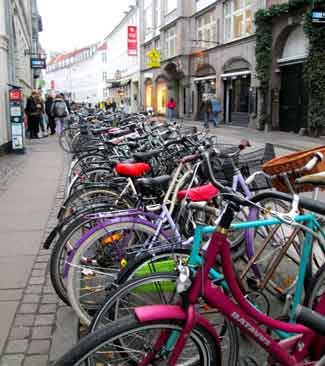 Bike parking on a multimodal street in Copenhagen.