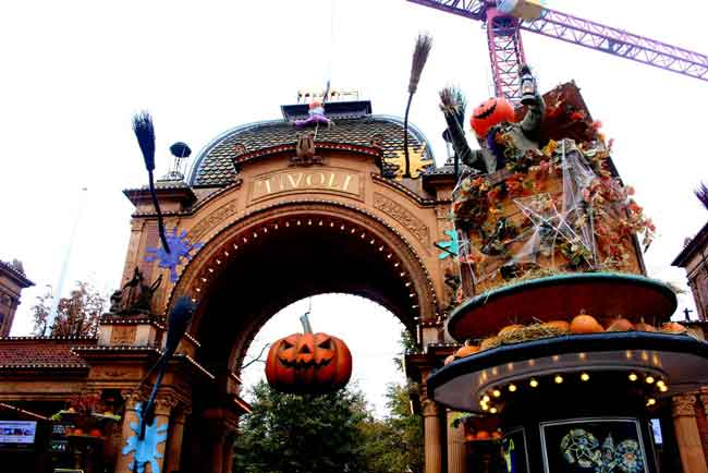 The entrance to the Tivoli Gardens, the world's second-oldest amusement park, was festooned for Halloween during our visit.