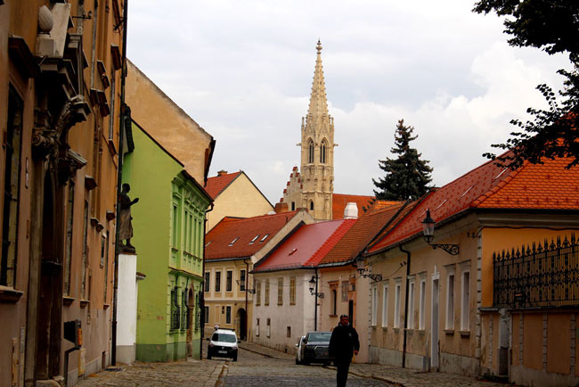 A peaceful lane in the old town of Bratislava was quiet and atmospheric.