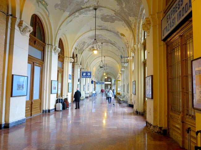 A cold, drafty corridor in Budapest's crumbling Keleti station, where we shivered during a two-hour delay.