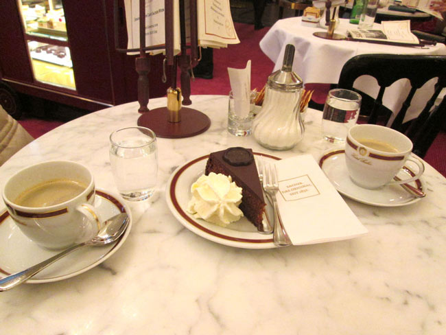 Our 20-euro snack at the Sacher Café. Why didn't we steal one of these cup sets?